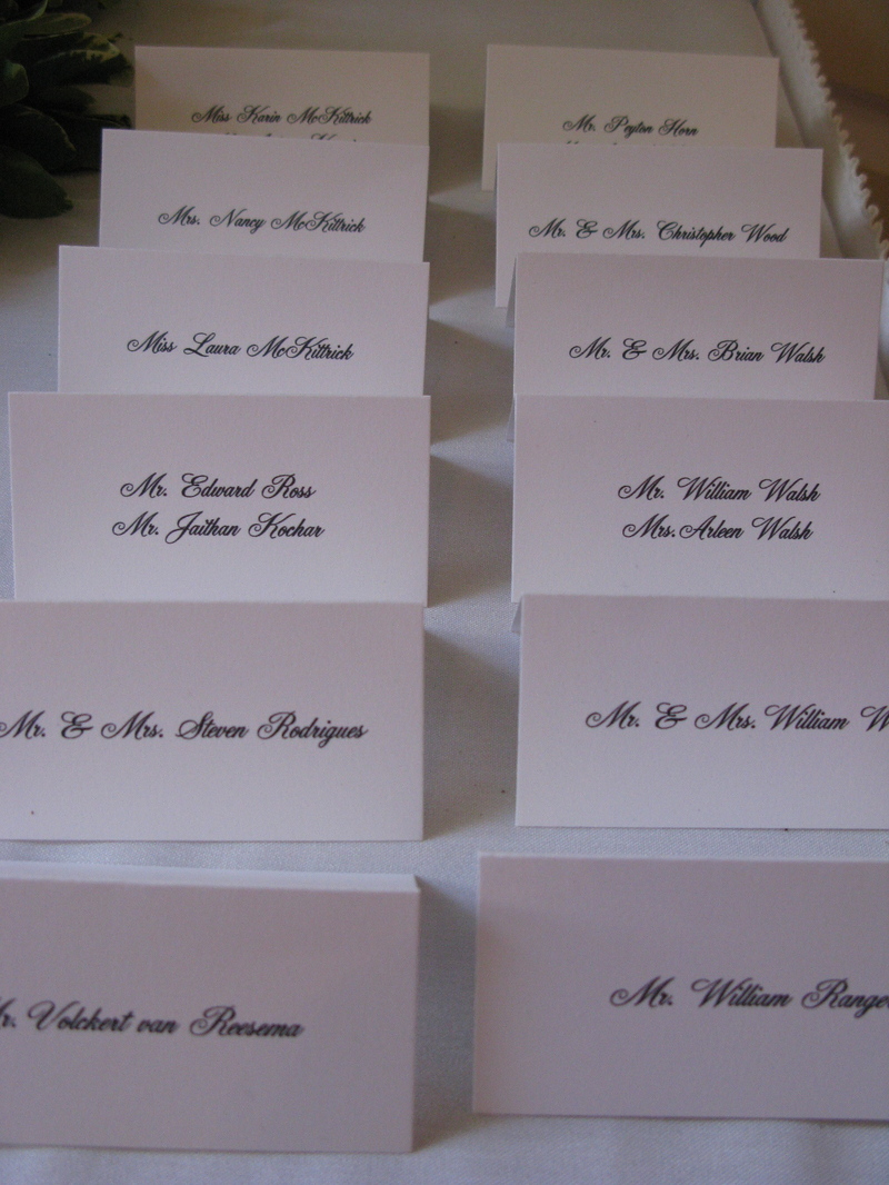 A fall wedding on the water eddie ross for Table place cards